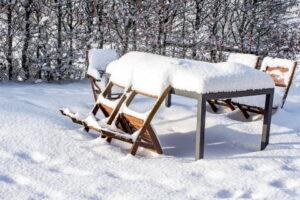 salon jardin sous la neige